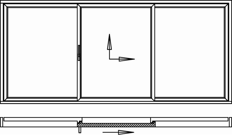 Hebeschiebetür für Balkon oder Terrasse 1 Schiebeflügel mittig