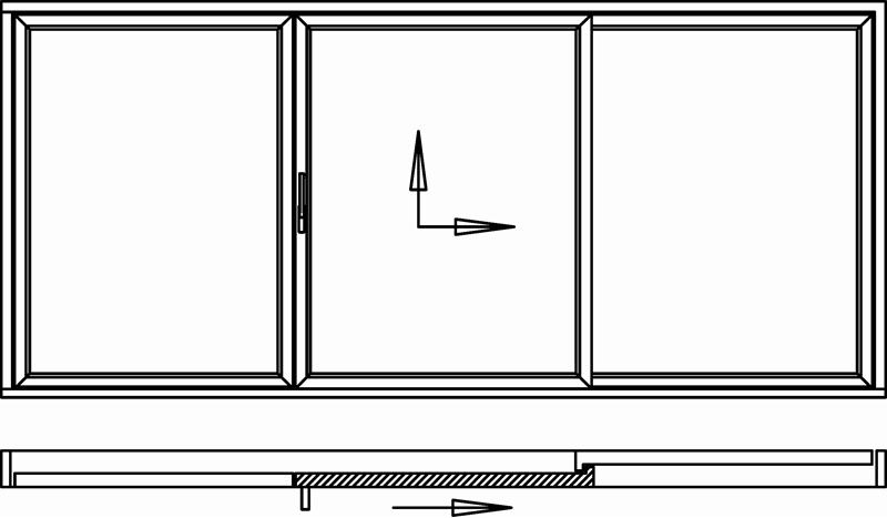 Hebeschiebetür für Balkon oder Terrasse 1 Schiebeflügel mittig 1 außen