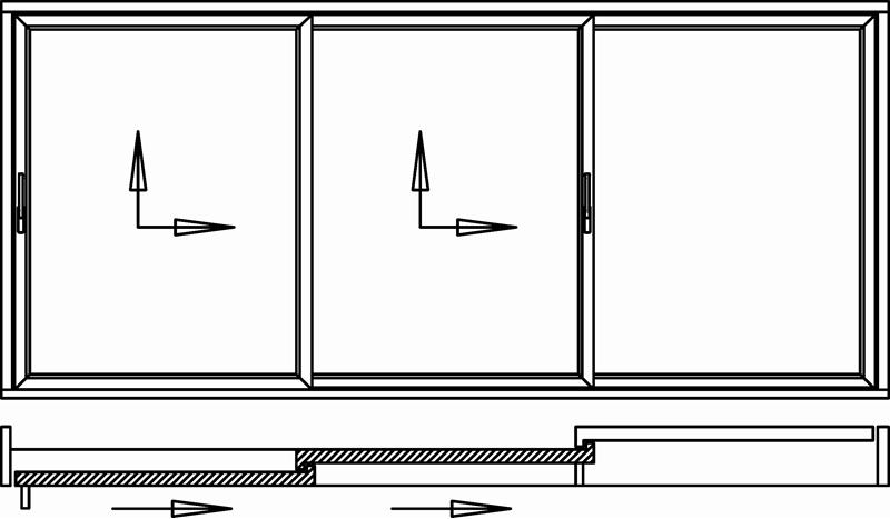 Hebeschiebetür für Balkon oder Terrasse 2 Schiebeflügel seitlich