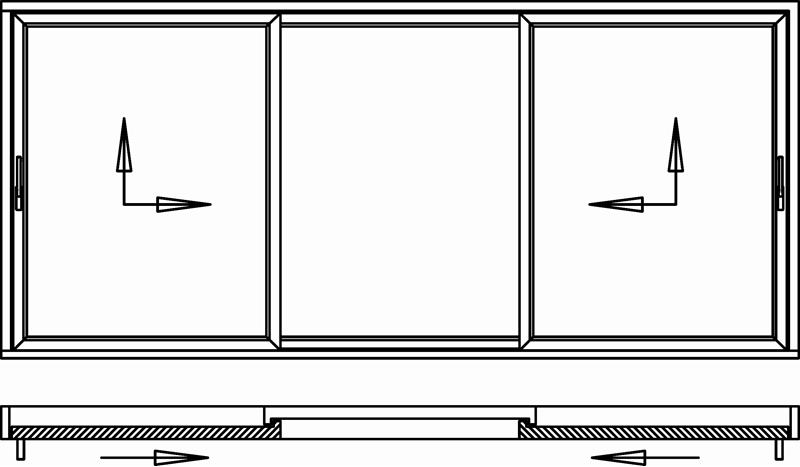Hebeschiebetür für Balkon oder Terrasse 2 Schiebeflügel außen