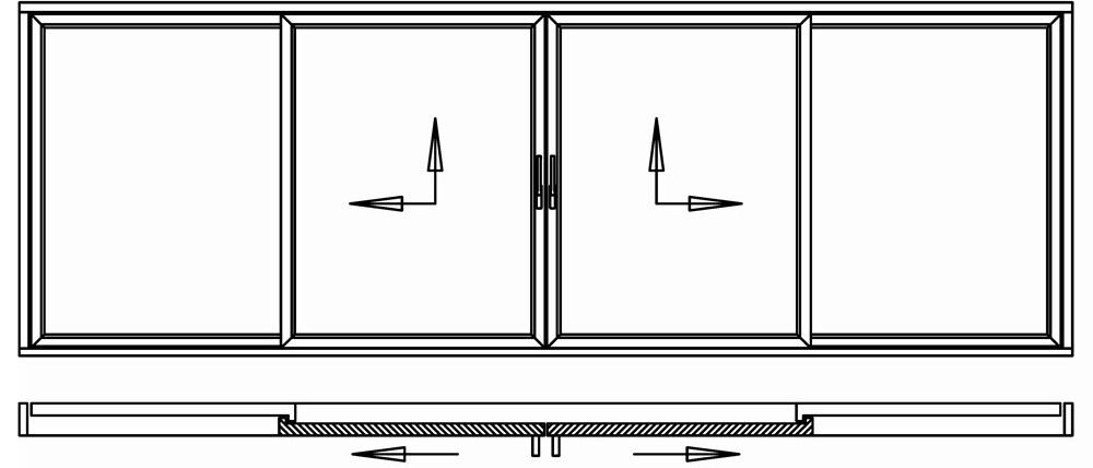 Hebeschiebetür für Balkon oder Terrasse 2 Schiebeflügel mittig 2 Festflügel