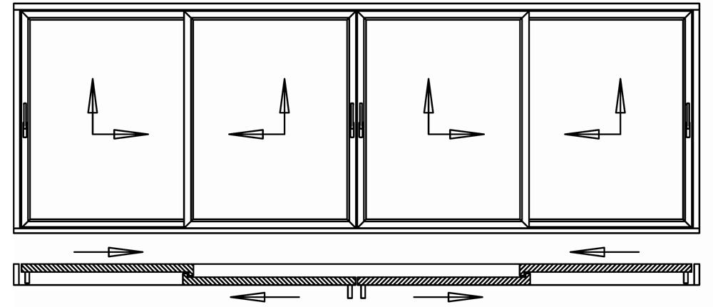 Hebeschiebetür für Balkon oder Terrasse 4 Schiebeflügel