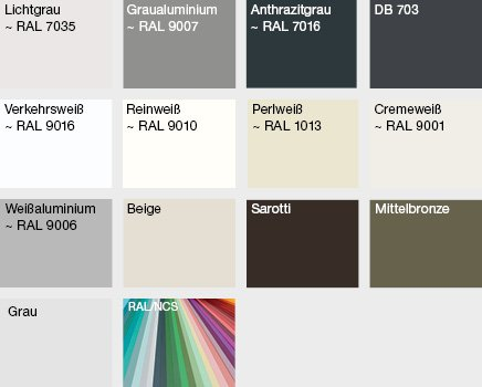 Raffstoren Profilfarben für individuelles Design von Oss Bauelemente