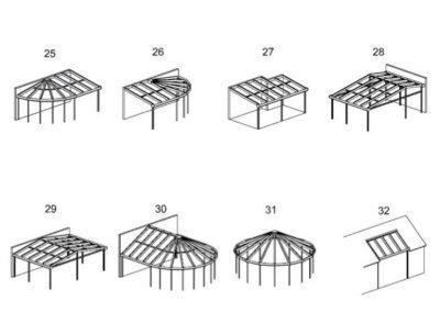 Auswahl Dachformen 25 bis 32